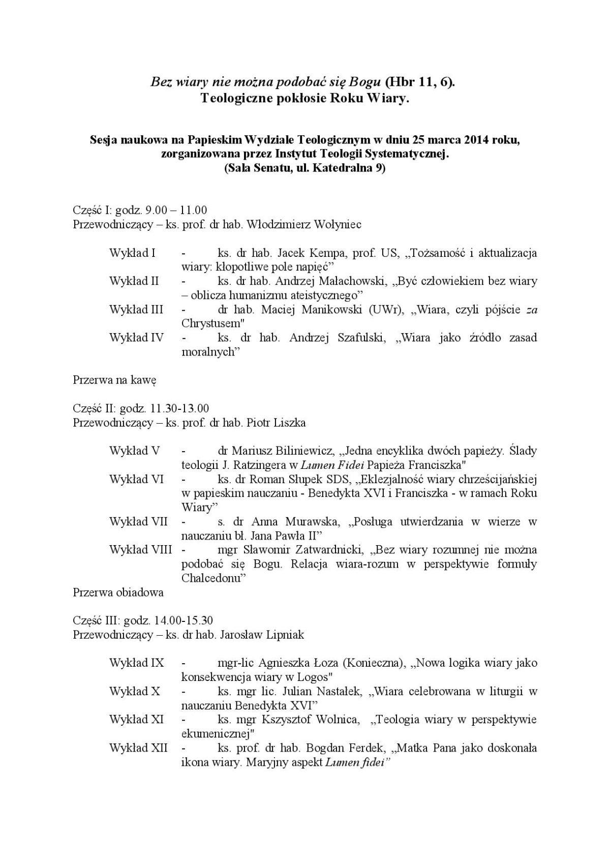 1ad3fdffa4a71 Teologiczne pokłosie Roku Wiary – sesja naukowa na Papieskim Wydziale  Teologicznym